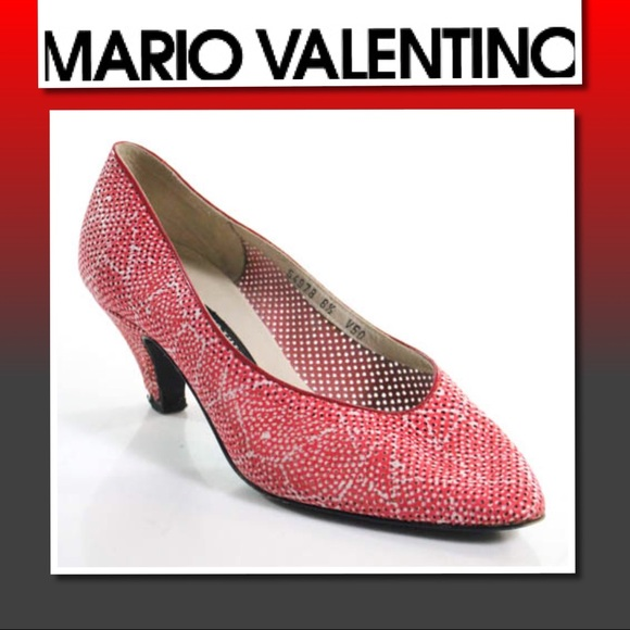 9a887ad1c840f Mario Valentino Vintage Red White Pumps Sz 6.5